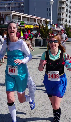 Anna and Elsa Frozen running costumes