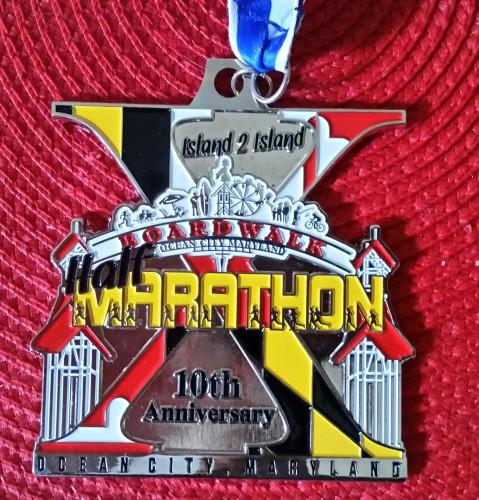 Ocean City Island2Island Half Marathon Medal